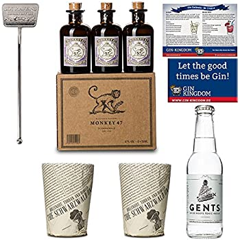 6x Monkey 47 Gin Minis/2x Monkey Becher/1x Stirrer/1x Gents Tonic Wasser/Magnet und Gin-Cocktailkarte/Ideales Geschenk Set