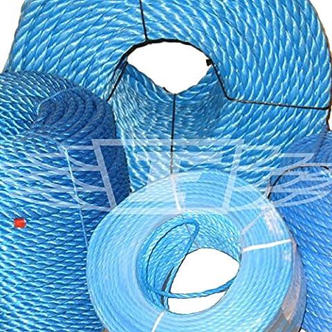 10 mm x 30 metros, azul interiores para manillas de puertas cuerda de polietileno, polipropileno POLYROPE, ideal para sirve barcos, lonas, remolques y refugios