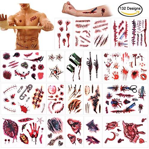 Howaf Halloween Tatuajes temporales (20 Hojas), Halloween Zombie Cicatrices Tatuaje Vampiro Tatuajes temporales Pegatinas Falso Scab Sangre Maquillaje Halloween Props y Cosplay