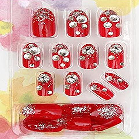 Evtech(tm) 24 PC Nagel-Abziehbilder Bling Bling Diamantrhinestone-Kristall-Französisch Künstliche Halb False Nails Red Nail Art Tips Transparency Fashion Style Glitters-Nagel-Kunst-Werkzeug