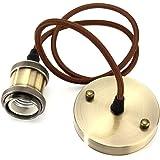 Suspension luminaire Vintage Style Industriel Moderne E27 Support de Lampe Douille Avec de 1M Câble Rond Tressé-Laiton Antiqu