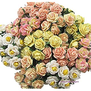 100 pcs Mini Rose Mixed Yellow Color Mulberry Paper Flower 10-15 mm Scrapbooking Wedding Doll House Supplies Card, by Amata Kufu Elegant