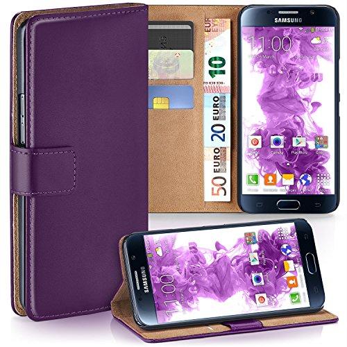 moex Samsung Galaxy S6 | Hülle Lila mit Karten-Fach 360° Book Klapp-Hülle Handytasche Kunst-Leder Handyhülle für Samsung Galaxy S6 Case Flip Cover Schutzhülle Tasche