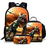 chaqlin Juego de 3 bolsas escolares para niños, mochila con bolsa de almuerzo, bolsa para lápices, animal, dinosaurio, lobo,