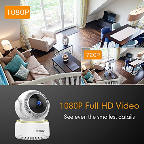 Mibao 1080P Telecamera Sorveglianza Wifi Camera IP Wireless Interno con Visione Notturna, Rilevamento Movimento, Allarme via Email, Pet/Elderly/Baby Monitor, Compatibile con iOS e Android e PC - 2