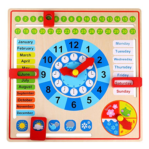 Tooky Toy Holz Jahresuhr für Kinder - Lernuhr mit der Ihr Kind spielend leicht die Uhr, Wochentage, Monate, Jahreszeiten und das Wetter erlernen - ca. 30 x 30 x 5 cm - geeignet ab 36 Monaten