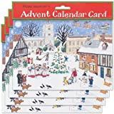 Alison Gardiner Pack of 4 Traditional Advent Calendar Cards -Christmas in the Village by Alison Gardiner Designs Ltd
