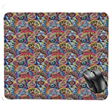 J5E7JYTE Gaming Mouse Pad,Hippie Style Abstract Blooms with Aztec Tribal Geometric Trippy Boho Antique Figures Decorative Mouse Pad