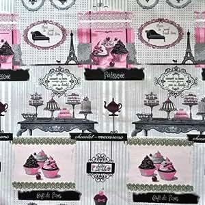 Quartier des tissus - Tissu jacquard patisserie parisienne couleurs - gris, conditionnement - au metre