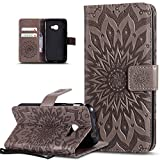 Coque Galaxy Xcover 4,Etui Galaxy Xcover 4,Embosser Gaufrage fleur soleil Housse Cuir PU Housse Etui Coque Portefeuille Protection supporter Flip Case Etui Housse Coque pour Galaxy Xcover 4,gris