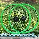 JJZD 20 Pollici in Alluminio Ruote Set di Ruote in Lega da 32 Foro 319 Rotary Freno a Disco sgancio rapido Set Hub Biciclette (Color : Green)