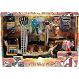 Pirate Ship Boat Complete Toy Play Set (Red Pirate)