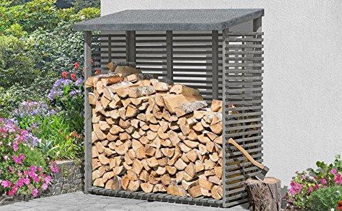 Gartenpirat Kaminholzregal mit Rückwand für 1,8 m³ Holz Grau