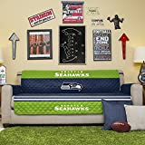 NFL Seattle Seahawks Sofa Couch Reversible Furniture Protector with Elastic Straps, 75-inches by 110-inches