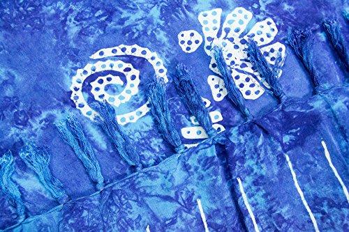 ManuMar Damen Sarong | Pareo Strandtuch | Leichtes Wickeltuch mit Fransen-Quasten 155x115cm oder 225x115cm, Motive und Farben Dunkel-Türkis Muschel