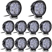 Leetop 10X 27W 12V 24V LED Faro de Trabajo, Foco para Tractor Carro Coche, Impermeable y Brillante
