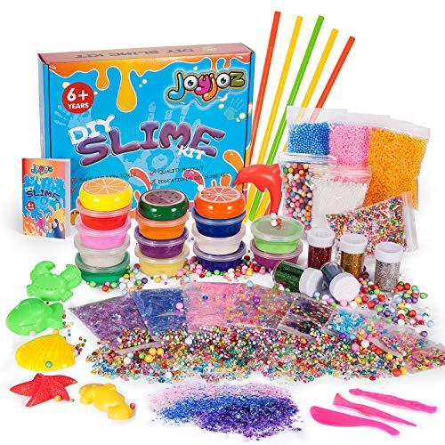 Joyjoz DIY Slime Kit, Nicht-Klebrig ungiftige Selber Machen Schleim Set mit 15 Farben Crystal Clay Schlamm, Bunte Schaum Bälle, Glitzer Shaker Gläser, und Strohhalme Stressabbau Lernspiel(43Teile)