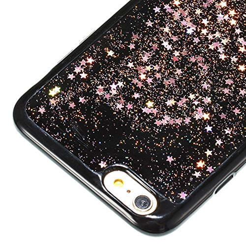 Custodia Cover iPhone 6/6S plus Silicone Morbida,Ukayfe Trasparente Cristallo di Lusso di Bling Glitter Paillettes Disegno per iPhone 6/6S plus Clear Flexible TPU Gel Ultra Sottile Copertura Case Prot Oro rosa