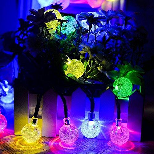 GDEALER Solar Lichterkette Durchsichtig Kugel Lights Christmas Dekoration Solarbetrieben 6m 30 LED Wasserdict für Outdoor Party, Haus Dekoration, Hochzeit, Weihnachten, Feier Festakt (RGB) - 4