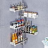 WENZHE Küchenregal Küche Wandregal Ablage Regal Storage Racks Ecke Multifunktion Freistanzen Edelstahl, 4 Stile (Farbe : 4 layer)