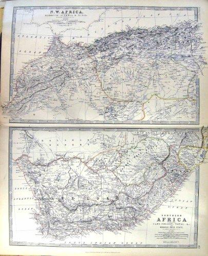 Stato natale 1883 dell'arancia del marocco algeria della mappa dell'oggetto d'antiquariato di johnston della colonia del capo dell'africa