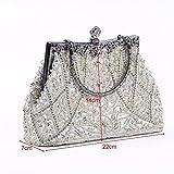 Popamazing Beaded Sequin Womens Clutch Bag Vintage Evening Satin Handbag Shoulder Bag Wedding Party Prom Purse