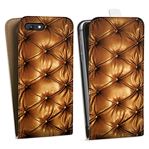 Apple iPhone X Silikon Hülle Case Schutzhülle Leder Muster Sofa Leder Couch Look Downflip Tasche weiß