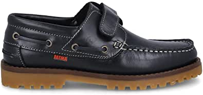 PAYMA - Chaussures Bateau Sport pour Homme Femme Enfant Garçon Unisexe en Cuir. Grandes Tailles. Fermeture Lacets et Velcro. Semelle en Caoutchouc. Marron, Bleu Marine, Noir et Velcro