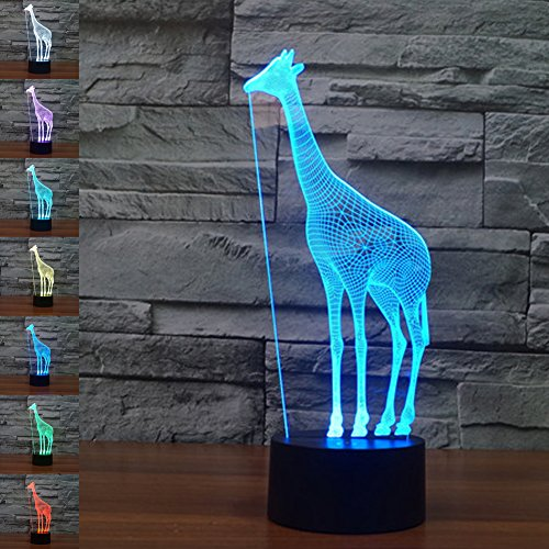 Lámpara Jawell con ilusión 3D de jirafa de 7 colores con interruptor...