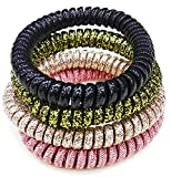 #8: Beautiful Rich Colours Shimmery Shiny Spiral Hair Band No Crease Elastic Ponytail Holders Phone Cord Traceless Hair Ring Hair Rubber Bands Suitable for All Hair Types. Set of 4 Different Colours.