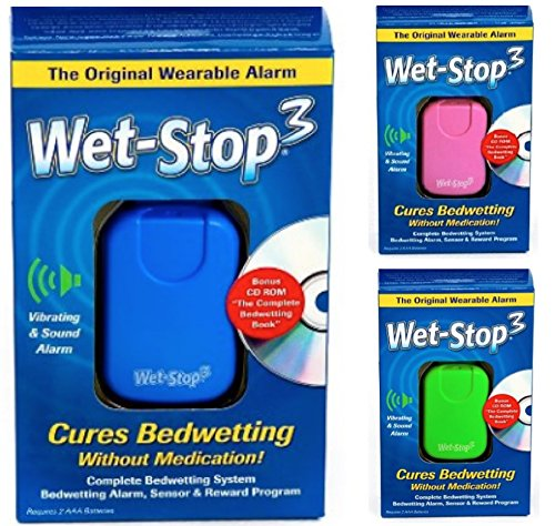 Wet-Stop3 Blue Bedwetting Enuresis Alarm with Sound and Vibration Bed Monitor For Bedwetters: Potty Training Children and Kids: Bed Wetting Alarm For Boys or Girls Proven Solutions For Nocturnal Enuresis Alarm System