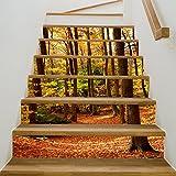 Kreative 3D Herbst Wald Treppen Aufkleber DIY Renovierung Wasserdichte Dekoration Wandaufkleber 6 Stücke (39 4 Zoll × 7 Zoll)