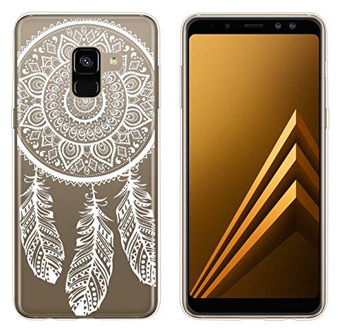 yayago Hülle für Samsung Galaxy A8 2018 / A8 2018 Duos Silikon Schutzhülle Hülle Case Backcover Tattoo Ornament Spring Design transparent Tasche