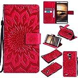 Guran® PU Leder Tasche Etui für Huawei Ascend Mate 7 (6 Zoll) Smartphone Flip Cover Stand Hülle und Karte Slot Case-rote