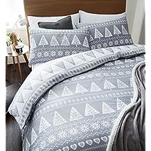 Catherine Lansfield–Funda nórdica juego de cama, diseño de árboles, color gris, Gris, matrimonio