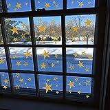 80 Sterne Weihnachtssterne, Aufkleber, Fensterbilder, Schaufensteraufkleber, Sticker XXL (Gold, 80 Stück)