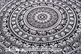 Indian Elephant Mandala Tapestry, Hippie Tapestries, Tapestry Wall Hanging, Indian Black & White...
