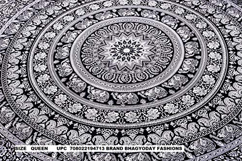 Indian Elephant Mandala Tapestry, Hippie Tapestries, Tapestry Wall Hanging, Indian Black & White Tapestry , Bohemian Dorm Decor Mandala...
