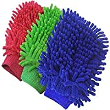 Double Sided Microfiber Wash Mitt Gloves,Dust Cleaning Gloves,Vehicle Washing Multipurpose House(Pack of 5)(Random Color will be shipped)