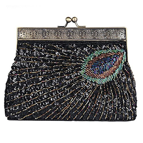 Vintage Peacock Antique Perlen Pailletten Abend Handtasche Dinner Party Clutch Taschen Geldbörse. 22 X 14 X 4 Cm black