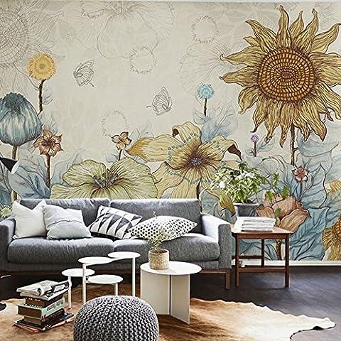 HUANGYAHUI Im europäischen Stil Retro Hand-Painted Blumen, Tapeten, ländliche Wohnzimmer, Schlafzimmer, Fernseher, Wand, Tapete, Wandbilder, Sonnenblume-120cmx100cm