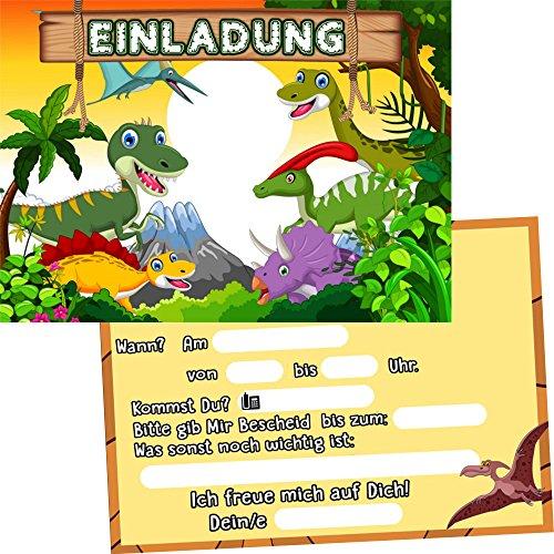 German Trendseller 6 x Einladungskarten - Dino Party - ┃ Kindergeburtstag ┃ Mitgebsel ┃ Dinosaurier - Geburtstag ┃ 6 Einladungen