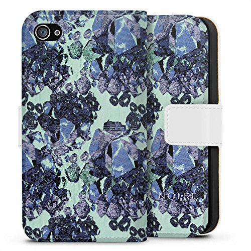 Apple iPhone X Silikon Hülle Case Schutzhülle steine edelsteine frühling Sideflip Tasche weiß