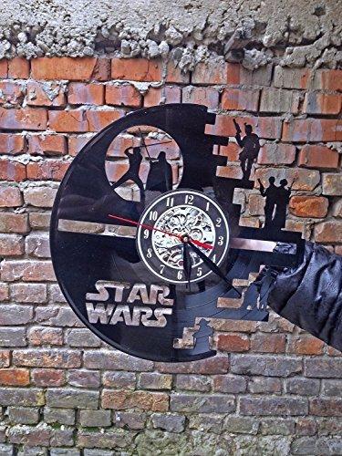 61elkm8aBlL - Meet Beauty Vinyl Star Wars Death Star diseñado Reloj de Pared LP Record -Decorate tu hogar con Moderno Grande Darth Vader Classic Vintage Art 30CM Círculo Negro