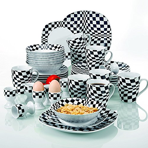 VEWEET 'LOUISE' 40-Piece Ivory White Black Mosaics Porcelain Dinner Combi-Set of 8 * Egg Cup, 8 * Mug, 8 * Dessert Plate, 8 * Bowl, 8 * Dinner Plate