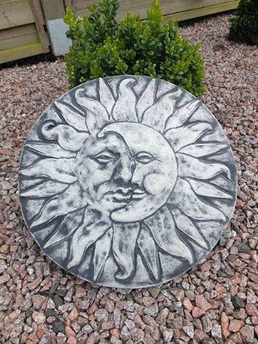 Steinfigur Wandrelief Sonne Mond Frostfest Steingesicht Gartenfigur Steinguss
