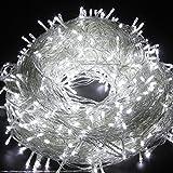 Bomien Guirlande Lumineuse 100 LED Lumières 10M Chaîne Eclairage Lampe Empoule Etanche Décoration Spain Noël Fête 220V prise EU Blanc