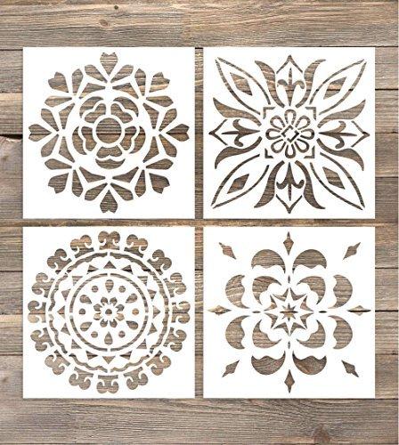 GSS Designs SL-005 Wandschablonen, 15,2 x 15,2 cm, Laser-Schneide, Fliesen, Schablone für Heimdeko, Heimdeko, für Wand, Boden, Fliesen, Holz, Stoff, Möbel, 4 Stück -