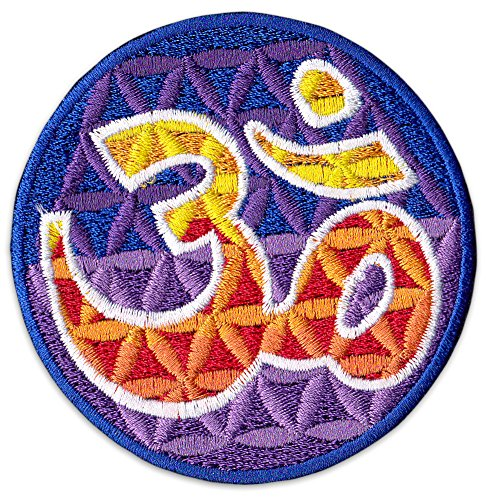 Retro Aum Aufnäher Aufbügler Patch Buddha Hinduismus Yoga Indien Goa Om Party Festival (Klein)