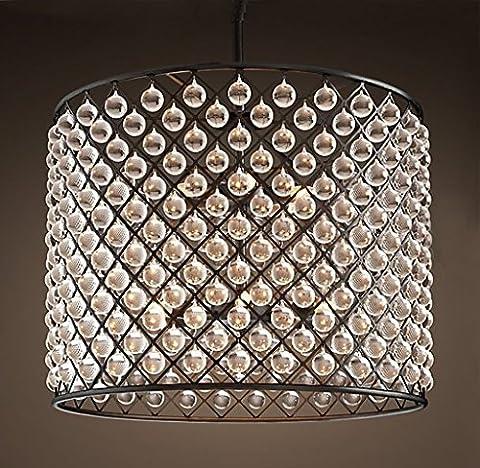 Aiwen Verre Cristal Fer Forgé Lustre ( Bulbs not Included ) Noir ( grand )